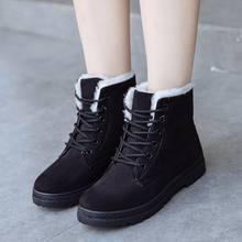 MEMUNIA Artı boyutu 34-44 Yeni kalın kürk sıcak kar botları kadın akın lace up platform ayakkabılar bayanlar yarım çizmeler rusya kış botas(China)