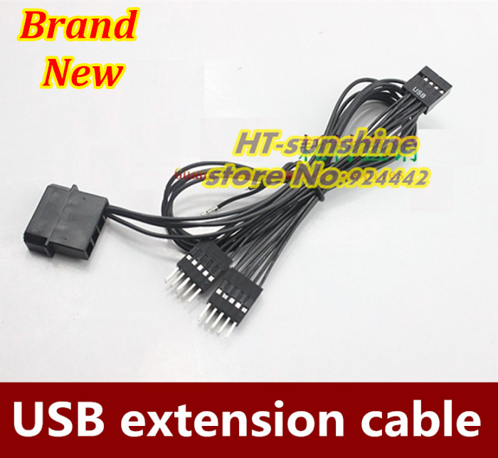 Free shipping via DHL 150PCS/LOT 1 to 2 Motherboard USB extended cable External 4D large current 10+50cm(China (Mainland))