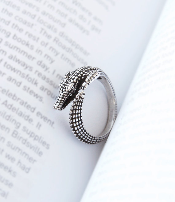 10pcs Boho Chic Vintage Silver 3D Alligator Ring 2015 Fine Jewelry Animal Rings for Men Anel Masculino(China (Mainland))