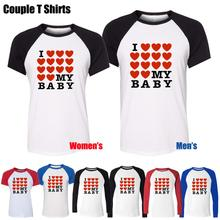 I Love My Baby Full Heart Love Funny Design Printed T-Shirt Men's Boy's Graphic Tops Blue or Black Sleeve