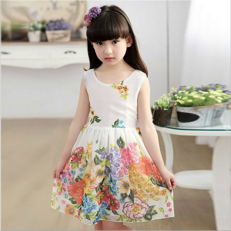 Girl Dress Summer New Pattern Korean Children's Garment Children White Vest Baby Shivering Princess Dress Kids Clothing Flowers(China (Mainland))