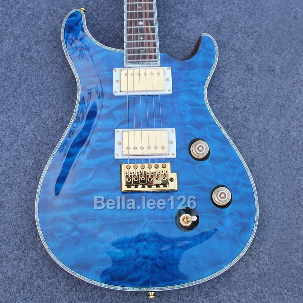 Factory guitar store,customize Paul smith style electric guitar,abalone inlay,quiled maple blue top,bone nut guitars(China (Mainland))