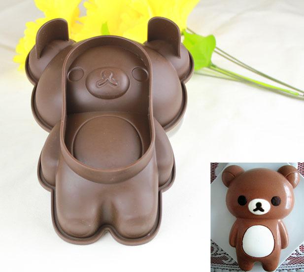 Free shipping ZD Rilakkuma bear 6inch silicone cake pan Silicone Cake Tools Chocolate Mold Cake Decoration Jelly Pudding Mould(China (Mainland))