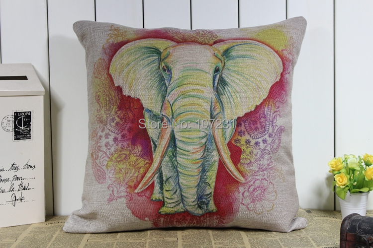 Buy vintage cotton linen cushion cover pillow case colorful elephant home decor Colorful elephant home decor