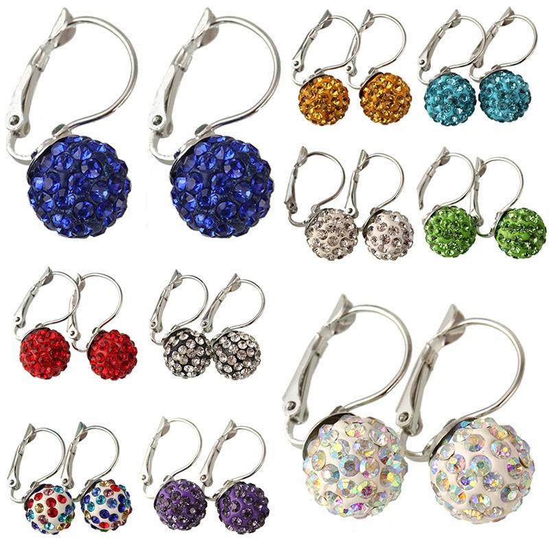 Shining 10 Colors Crystal Rhinestone Small Ball Shambhala Earrings Clip For Women Beautiful Charm Jewelry E1702 E1711<br><br>Aliexpress