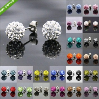 6mm  Shamballa Beads Earrings Fashion Mix colors Cheap  Micro pave Disco crystal Ball stud  earrings full rhinestone