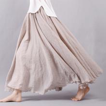 2016 Fashion Brand Women Linen Cotton Long Skirts Elastic Waist Pleated Maxi Skirts Beach Boho Vintage Summer Skirts Faldas Saia(China (Mainland))