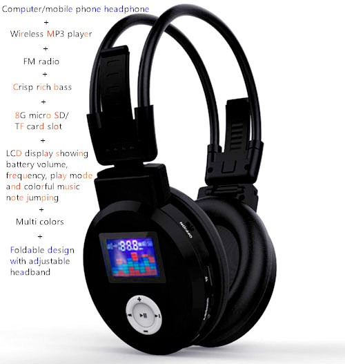 Foldable hd headphone with adjustable headband support TF SD card mp3 player FM radio LCD display showing battery, frequency etc(China (Mainland))