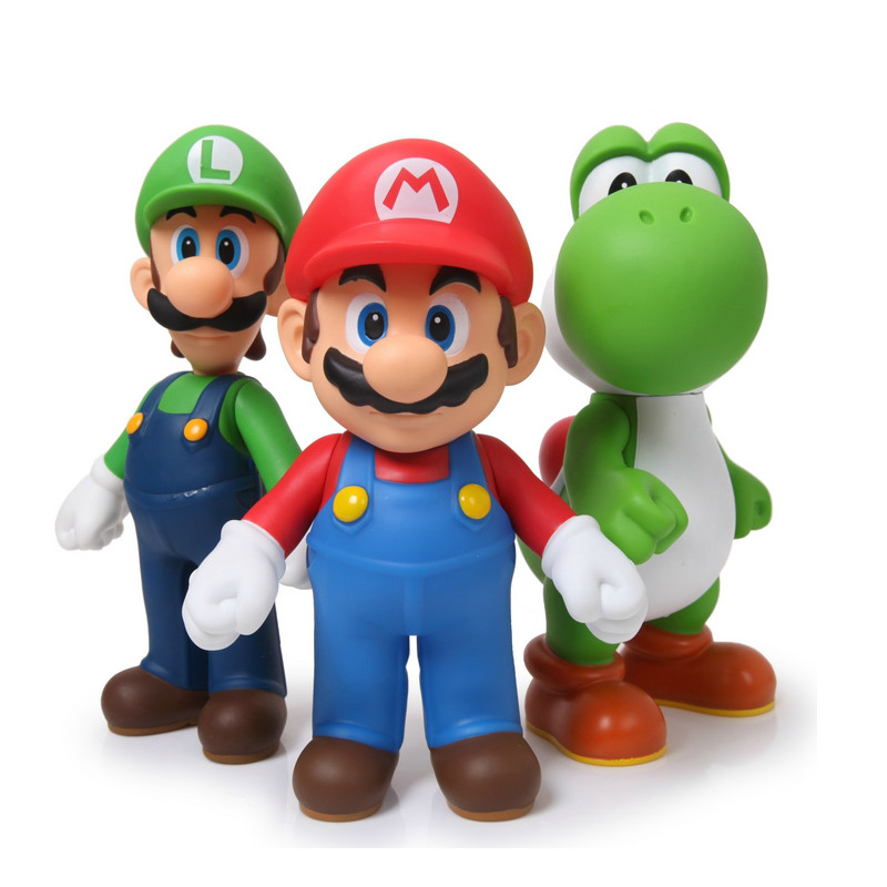 3pcs lot Super Mario Bros Luigi Mario Action Figure PVC Super Mario Figure Model Doll 13cm