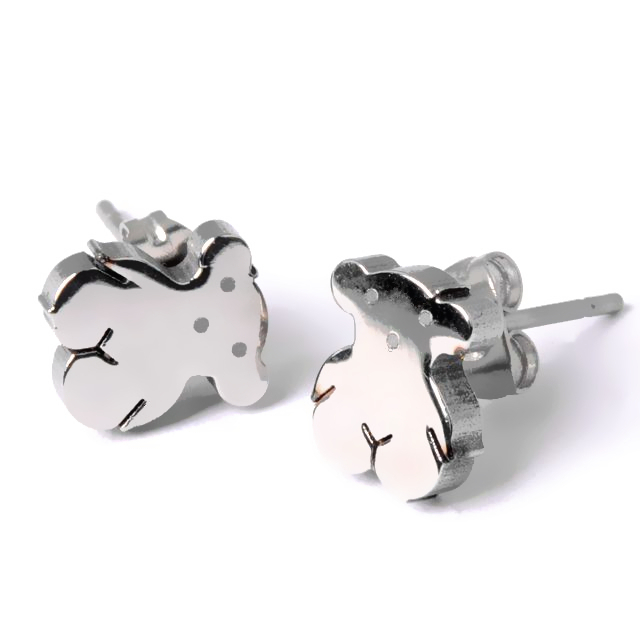 2pcs Lovely Gold/Silver Teddy Oso Pendientes Bear Titanium Stainless Steel Bear Stud Earrings Jewelry For Women(China (Mainland))