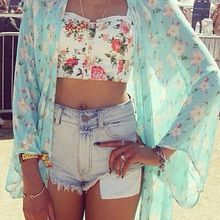 Hot Women Floral Printed 3/4 Short Sleeved Chiffon Kimono Cardigan Tops Blouses 99#