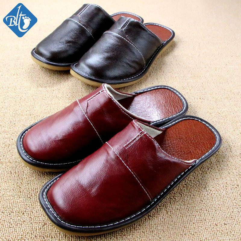 Summer/spring Genuine Leather Couples Slippers Men Woman ...