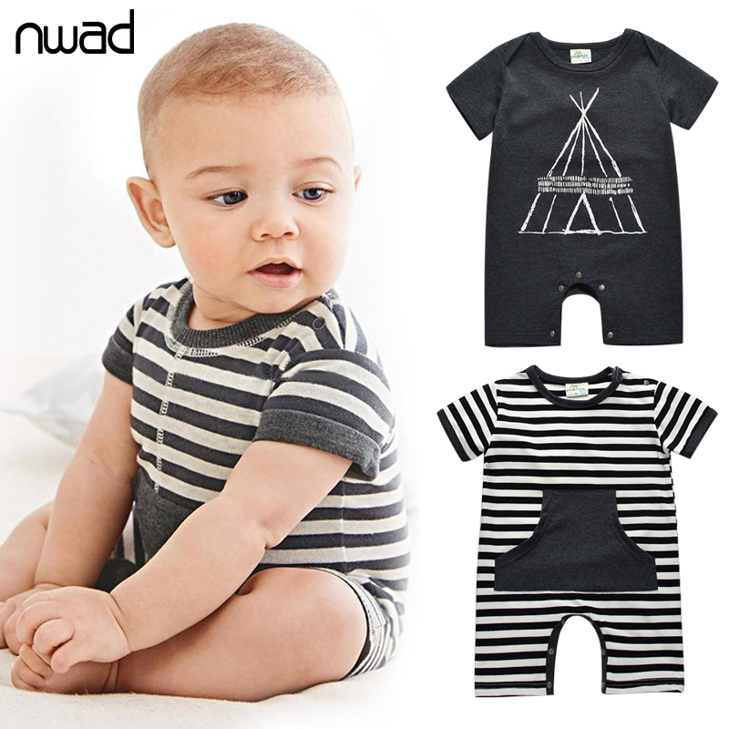 Summer Infant Boy Cotton Rompers Casual Striped Newborn Baby Clothes Toddler Boys Short Sleeve Romper With A Hat FF099(China (Mainland))