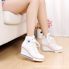 2015 Women shoes platform canvas Wedges High Heels thick soled High Top ankle Ladies Casual Zipper zapatos mujer espadrilles E(China (Mainland))