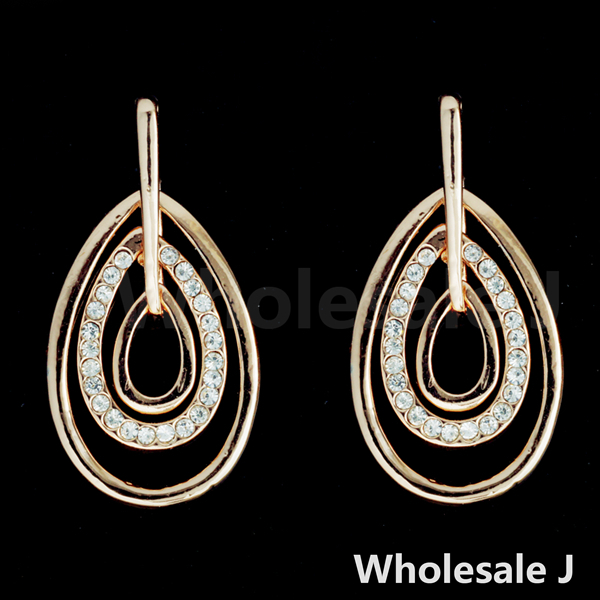 PM0120 Free Shipping Fashion High Quality Gold Plated Elegant Oval Circles with Shining White Stones Earrings Hot Item Wholesale(China (Mainland))