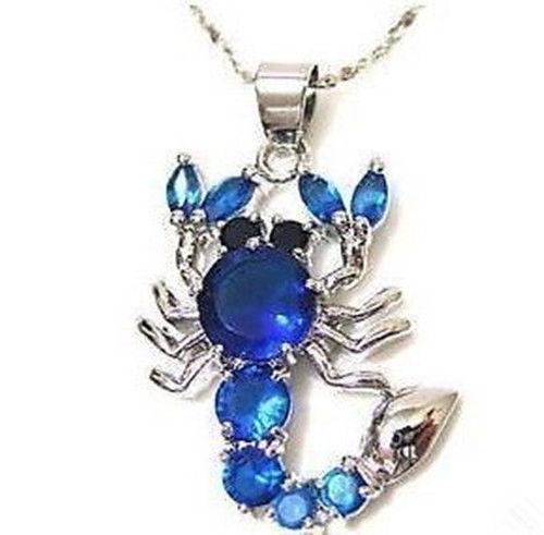 FREE shipping> Scorpion blue sapphire cz Necklace Pendant(China (Mainland))