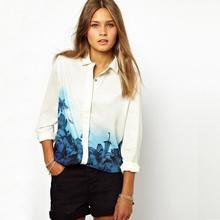 Autumn Spring New Brand Printing Waist Fashion Style Retro Plus Size Stand Collar Full Sleeve Chiffon Shirt Vintage Women Blouse(China (Mainland))