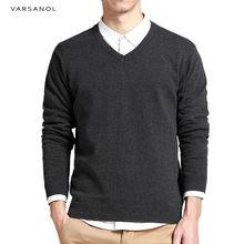 Varsnaol 새로운 브랜드 스웨터 남자 v-목 솔리드 슬림 맞는 뜨개질 남성 스웨터 카디건 남성 2018 가을 패션 캐주얼 탑스 hots(China)