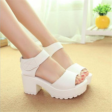 Fashion Sandals Women Summer shoes 2016 wedges Open Toe Thick Heel Mujer Soft PU Women Platform Sandals high-heeled Shoes Woman(China (Mainland))