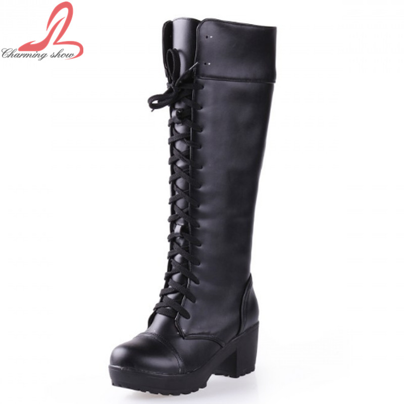 2016 Winter Knee High Square heel Platform women Boots Punk Sexy Lace Up Shoes Fashion Motorcycle Boots Free Shipping(China (Mainland))
