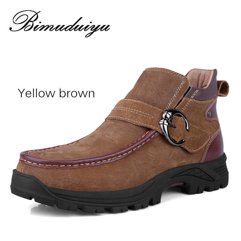 New winter leather men's shoes, plus size man leather snow boots, warm shoes, leather hiking boots, male 38 ~ 47 BIMUDUIYU brand