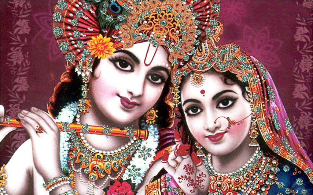 indian god radha krishna Poster Home Decor Wall Sticker 4 sizes Free Shipping