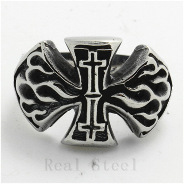Double Jesus Cross Ring Cloud Shape Cool Finger Ring 316L Stainless Steel Cross Flaming Ring Punk Gothic Style Big Cross Jewel(China (Mainland))