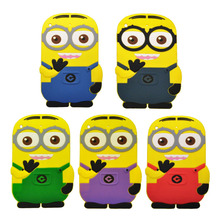 Fashional new arrival cute cartoon model Despicable Me Yellow Minion silicon material case Stand cover for ipad mini PT1019(China (Mainland))