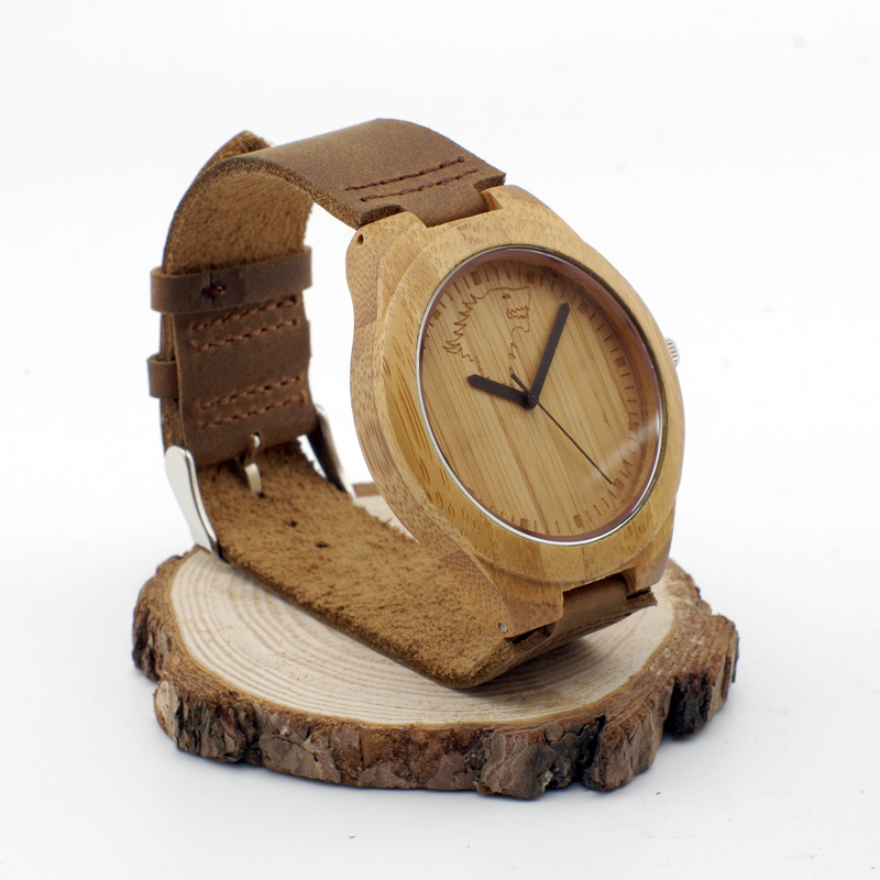Fashion New Antique Genuine Cowhide Leather Band Lovers Luxury Watches Wood Bamboo Wristwatch for Men Women