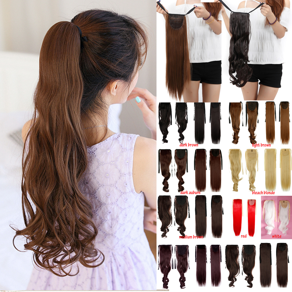 """18"""" Long Curly Clip in on Pony Tail Clip Hair Extension Pnytail Blonde Black Brown Hairpiece Fashion New HairStyle 28(China (Mainland))"""