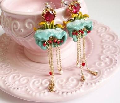 2015 New Les Nereides Robins pink enamel glaze series crystal pearl necklace<br><br>Aliexpress