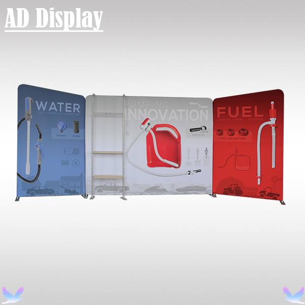 20ft Trade Show Premium Stretch Tension Fabric Banner Display With TV Stand,Exhibition Booth Portable Advertising Backdrop(China (Mainland))