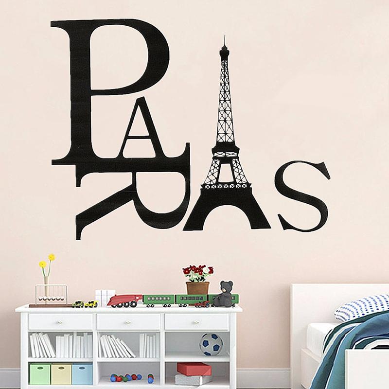 New Arrival Black Paris Eiffel Tower Wall Sticker Vinyl Art Decal Mural Home Bedroom Kid Room Living Room Decoration DIY(China (Mainland))