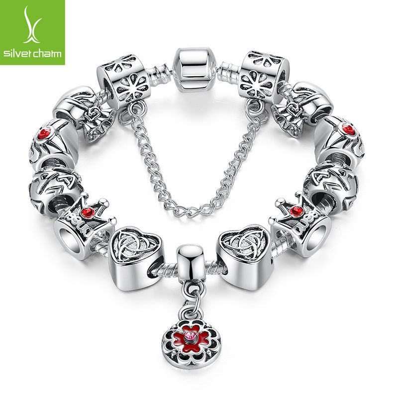 Aliexpress Luxury 925 Silver Charm bracelet with Round Pendant and Crown for Women Fashion DIY Beads Jewelry Pulseira Gfit(China (Mainland))