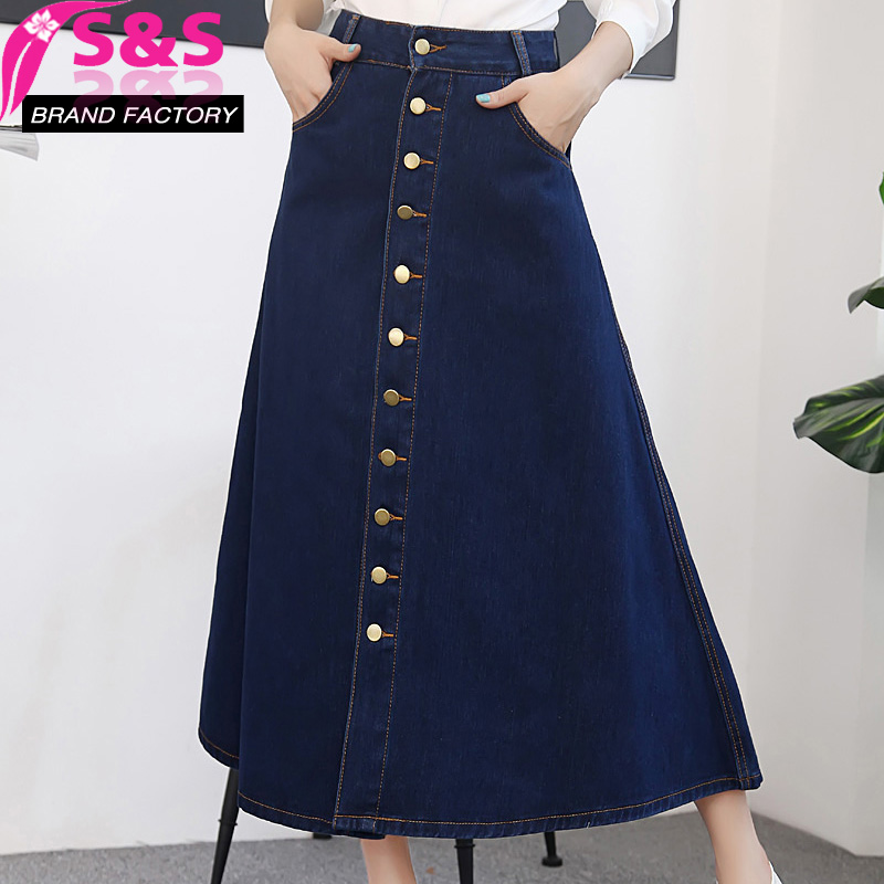 S&S Free Shipping New Fashion Long Mid-calf Autumn Spring Single Breasted Denim High Waist A-line Jeans Women Skirts S-XL L C16