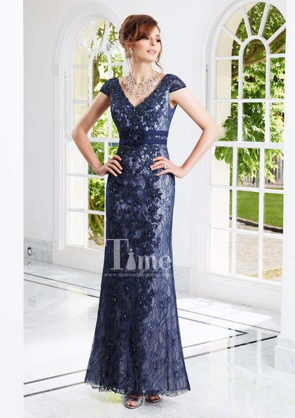 Cap Sleeve V-neck Casual lace Mother Of the Bride dresses 2014 new arrival free shipping MB070927(China (Mainland))