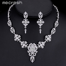 Mecresh Gorgeous Crystal Wedding Jewelry Sets Silver Plated Rhinestone Flower Earrings Necklace Bridal Jewelry Sets MTL432(China (Mainland))