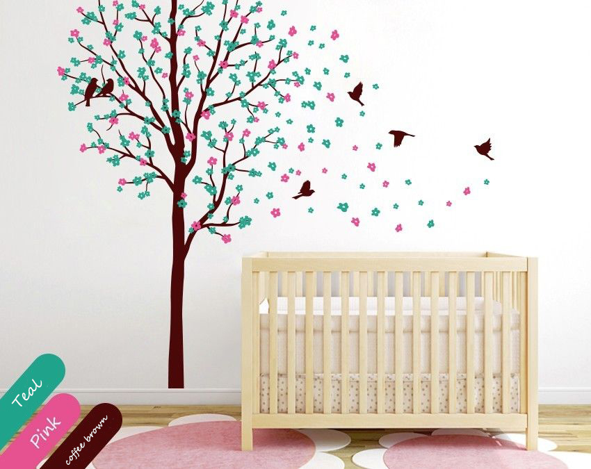 Baby nursery tree wall decal wall mural sticker cherry for Baby nursery tree mural