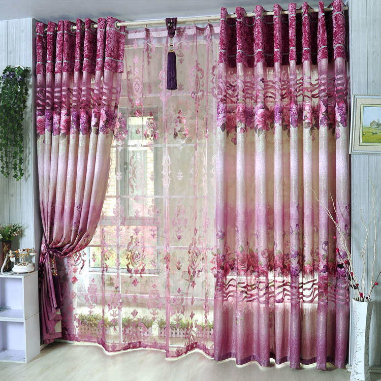 Quality flower curtain shalian rustic pink flower patterns dodechedron floweryness graphic cut flower curtains tulle(China (Mainland))