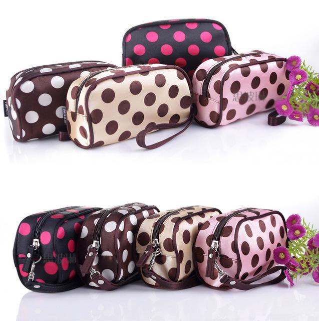 Makeup Bag Necessaries Purse Organizer Lovely Dot Cosmetics Bag storage bag New  Free Shipping J022