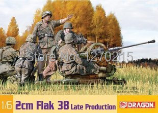 Dragon 1/6 Scale 2Cm WWII German Flak 38 Gun Late Production Model Kit 75039(China (Mainland))