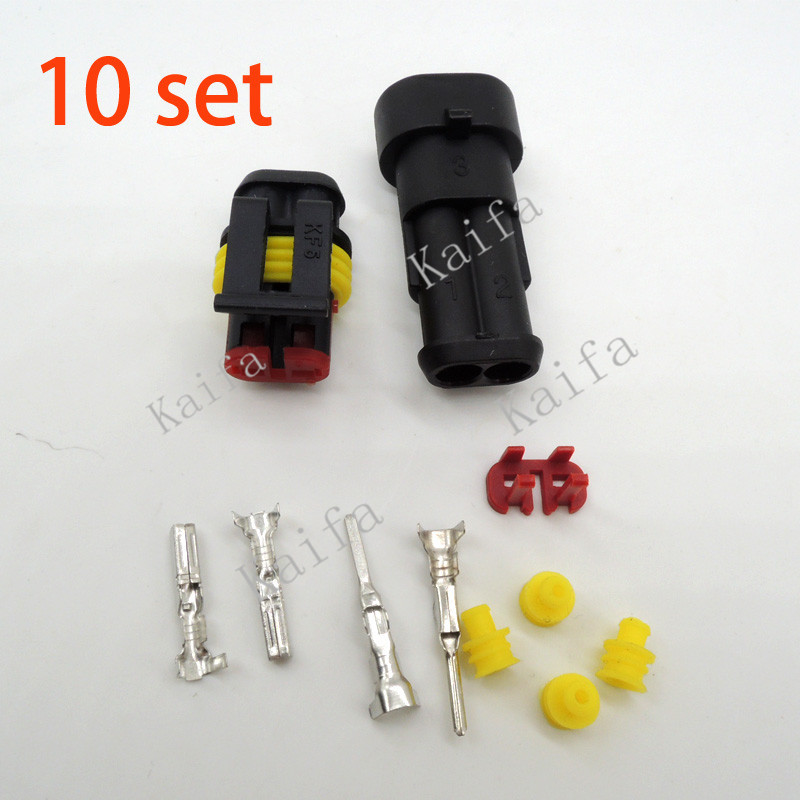 10 sets Kit 2 Pin Way AMP Super seal Waterproof Electrical Wire Connector Plug for car free shipping with registered(China (Mainland))