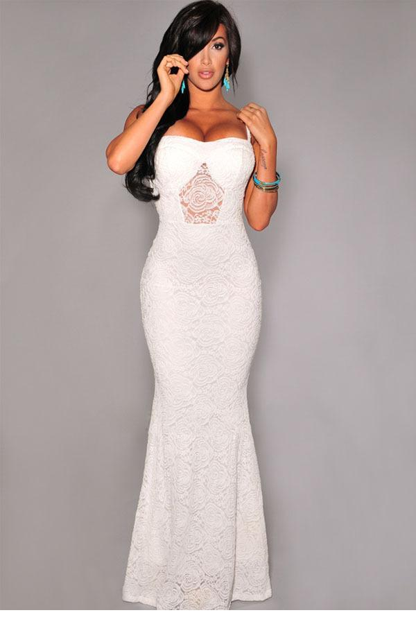Vestido curto White Mermaid Lace Maxi Evening Gown LC6644 New 2015 sexy evening dresses longo vestidos estampado(China (Mainland))