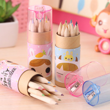 Buy 12pcs/lot DIY Cute Kawaii Little Girl Mini Wooden 12 Colors Colored Pencil HB Wood Students Colorful Pencil Drawing Painting for $2.09 in AliExpress store