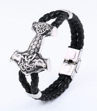 באייר 316L נירוסטה עור פרה צמיד ויקינג סקנדינבי הנורדית גברים של צמיד thor של האמר mjolnir אופנה BC-L033(China)