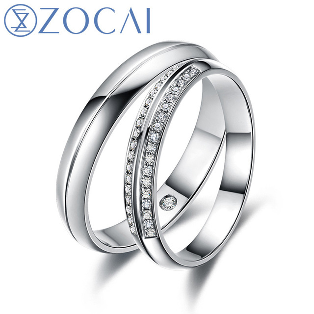 ZOCAI Happiness Real 0.15 CT Certified I-J /SI Diamond His and Hers Wedding Ring Sets 18K White Gold (Au750)