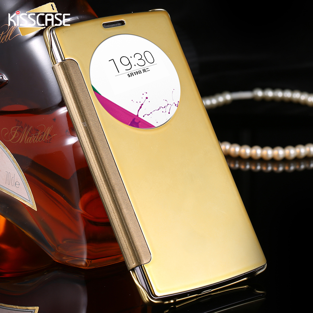 KISSCASE Clear View Mirror Screen Flip Leather Case LG Optimus G4 H815 H811 H810 VS986 LS991 F500 Mobile Phone Cover Coque