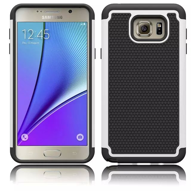 50pcs/lot Mix Color Dual Layer PC Silicone Hybrid Football Hard Back Case For Samsung Galaxy Note 5(Hong Kong)