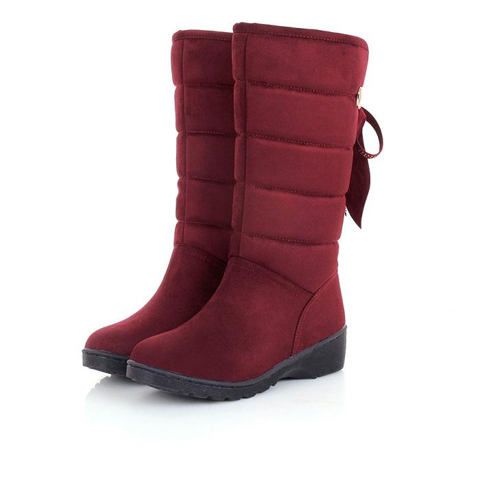 2015 new arrived simple solid color fashion warm winter woman snow boots flat bottomed warm footwear ski shoes(China (Mainland))