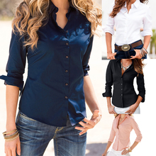 Blusas Femininas Turn Down Collar 2016 Fashion Slim Long Sleeve Blouse Formal Ladies Office Shirts Black(China (Mainland))